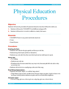 Physical Education Procedures