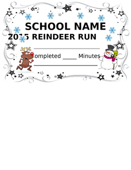 Physical Education Reindeer Run Award Certificate