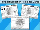 Physical Education Reminder Cards - Shoe Reminder, Clothes Reminder
