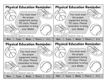 Physical Education Reminder Cards - Shoe Reminder, Clothes Reminder