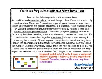 Physical Education: Secret Math Facts Hunt (Moving & Math Activity) Addition