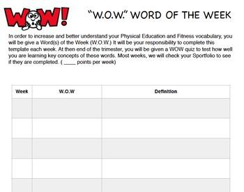 Physical Education Student Portfolio (SPortfolio- 5th Grade)