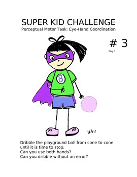 Physical Education Super Kid Challenges Perceptual Motor Stations & assessment