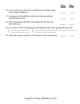 Physical Ed. Teacher Check Up Assessment to help determine Student Comprehension