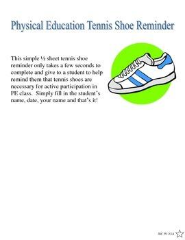Physical Education Tennis Shoe Reminder