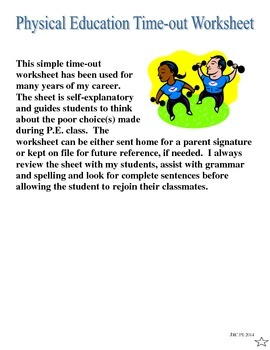 Physical Education Time-out Worksheet