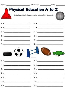 Physical Education Vocabulary License Plates - Editable
