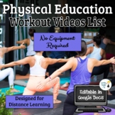 Physical Education Workout Lessons and Assessment Sheets -