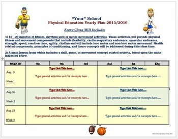 Physical Education Year Plan- Editable Template