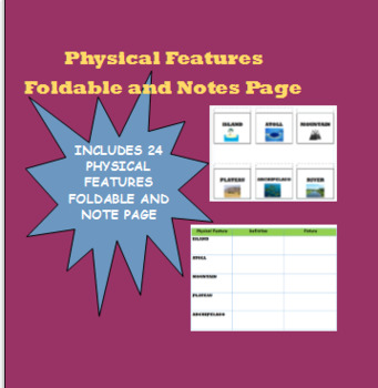 Physical Features Foldable and Notes Page