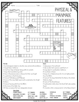 Physical Features, Geographic & Manmade Features Crossword
