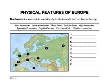 Map Of Europe Plain.Physical Map Europe Teaching Resources Teachers Pay Teachers