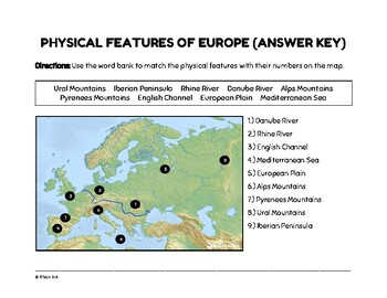 FREEBIE: Physical Features of Europe (Worksheet)
