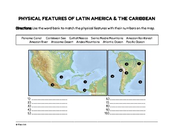 Geography of Latin America & the Caribbean (Worksheets)