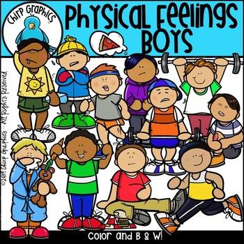 Physical Feelings Boys Clip Art Set - Chirp Graphics