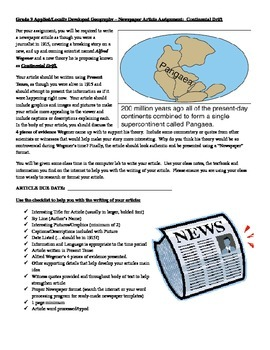 Physical Geography - Continental Drift Newspaper Article