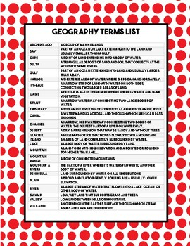 Physical Geography Terms - Landforms