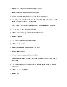 Physical Geography of Africa Study Guide
