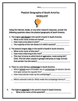 Physical Geography of South America Webquest (Answer Key Included!)