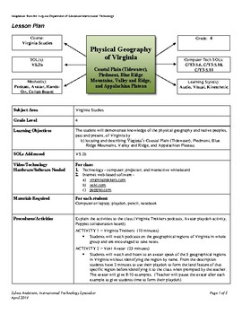 Physical Geography of Virginia - Lesson Plan