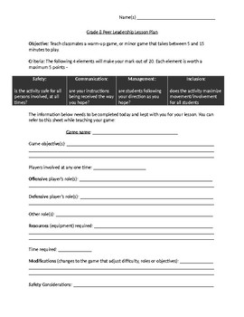 Physical Health Education Grade Peer Leadership Lesson Plan Template - Health lesson plan template