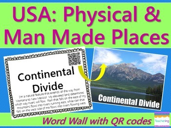 Physical & Man Made Locations in the USA {Word Wall with QR Codes}