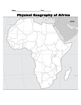 Africa Map Activity - Physical Geography of Africa