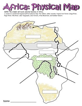 Physical Map of Africa GPS Social Studies 7th by Classroom Ninja