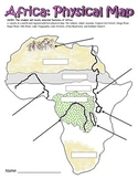 Physical Map of Africa GPS Social Studies 7th