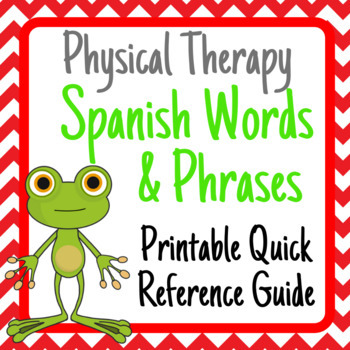 Physical/Occupational Therapy Spanish Vocabulary- Quick Reference