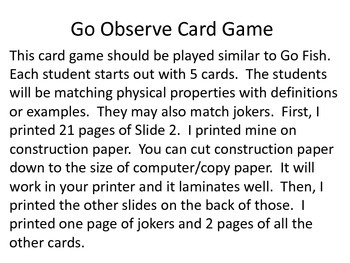Physical Properties Card Game-Go Observe!