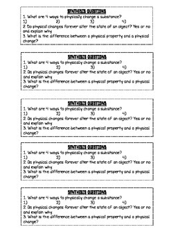 Physical Properties & Changes Stations Lab Complete Packet