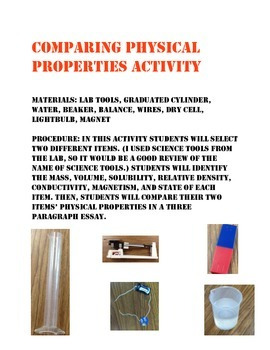 Physical Properties Final Activity