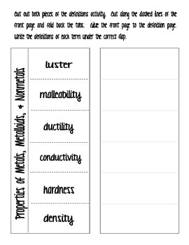 Physical Properties Interactive Notebook Activity