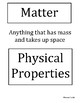 Science TEKS 5.5A Physical Properties Interactive Word Wall Labels/Headers