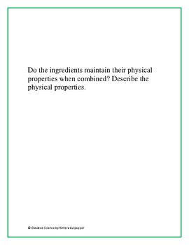 Physical Properties: Lab Center with Writing Prompt