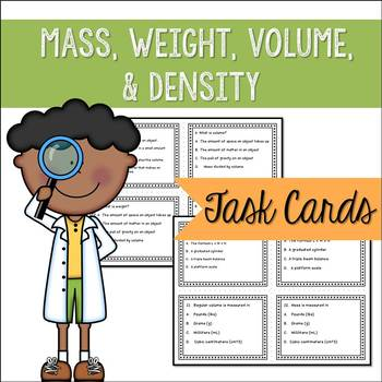 Physical Properties - Mass Weight Volume Density - Task Cards