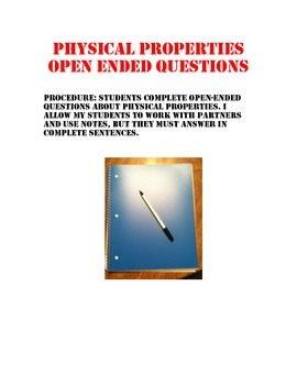 Physical Properties Open Ended Questions