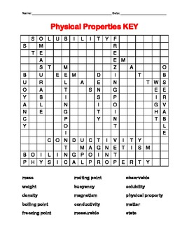 Physical Properties Science Word Search