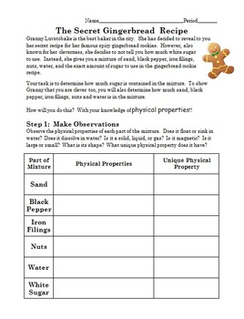 Physical Properties Separation Lab Activity - Gingerbread Cookies