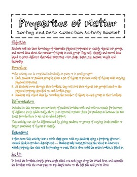 Physical Properties Sorting and Data Collection Booklet - Differentiated Levels