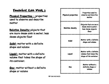 Physical Properties Vocab Pack