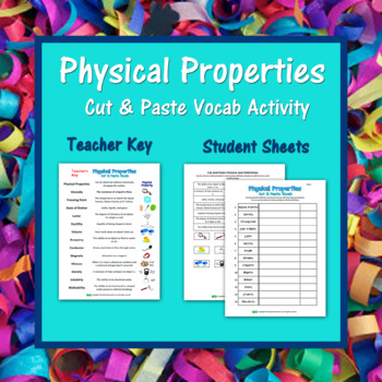 Physical Properties Vocabulary Cut and Paste