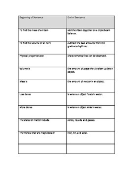Physical Properties Vocabulary Match Up