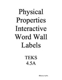 Science TEKS 4.5A Physical Properties Interactive Word Wal