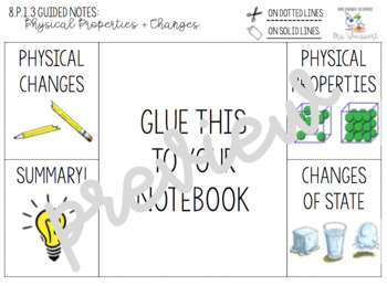 Physical Properties and Changes Guided Notes + Foldable