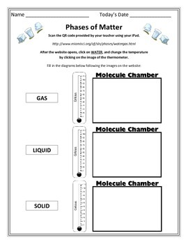 Physical Properties and QR Code - States of Matter Interactive Worksheets