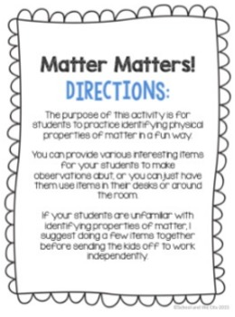 Properties of Matter - 2 Activities to Identify Physical Properties