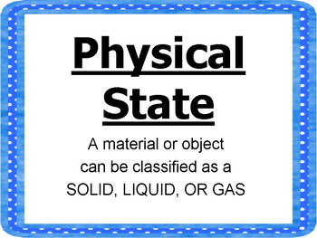 Physical Properties of Matter Anchor Chart and Vocabulary Posters