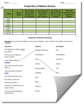 Physical Properties of Matter Identification and Matching Activity Worksheet